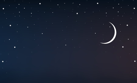 Night sky with a crescent moon and stars Иллюстрация