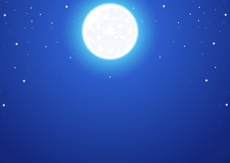 満月と星の夜空