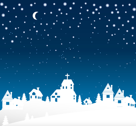 european alps: Winter is over the village, vector art illustration Christmas landscape.