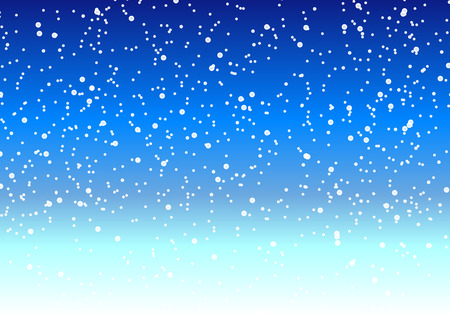tranquil scene on urban scene: Falling snow in night winter sky, vector art illustration.