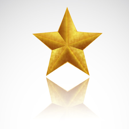 award lit: Gold Star with reflection, vector art illustration.