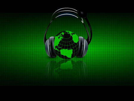 information technology: Digital music with headphones, vector art illustration audio planetary scale. Illustration