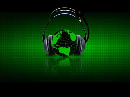tecnología informatica: La música digital con auriculares, ilustración de arte vectorial escala planetaria audio.
