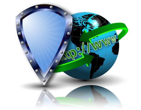 surfing the net: HTTP WWW Internet Security Land, vector art illustration.