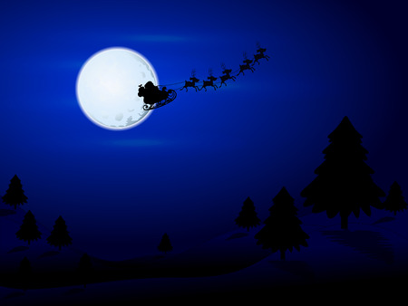 reindeers: Santa Claus flying over the moon, vector art illustration. Illustration