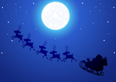 moon angels: Santa flies through the night sky, vector art illustration.