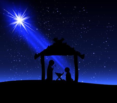Jesus on the night of Christmas, vector art illustration.
