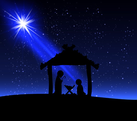love silhouette: Jesus on the night of Christmas, vector art illustration.