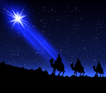 nativity background: Three wise men by a star, vector art illustration.