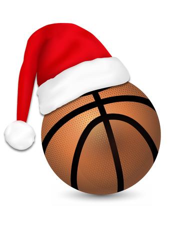 weihnachtsmann lustig: Sankt-Hut auf einem Basketball-Ball, Vektor-Illustration.