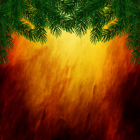 branch cut: Spruce branches on parchment background, vector art illustration.