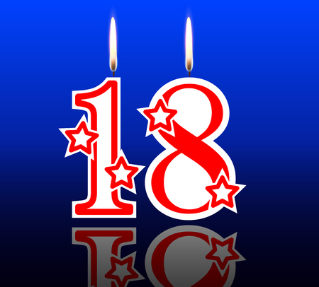 18 19 years: 18 birthday candles, vector illustration holiday art.