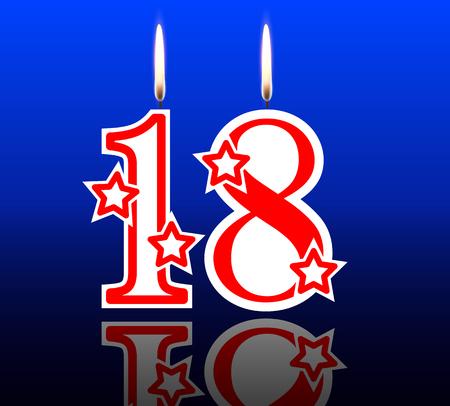 18: 18 birthday candles, vector illustration holiday art.