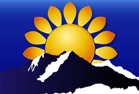 horizon over land: Logo of the sun over the mountains, vector art illustration.
