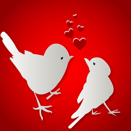 kunst: Birds kissing on Valentines Day, vector art illustration.