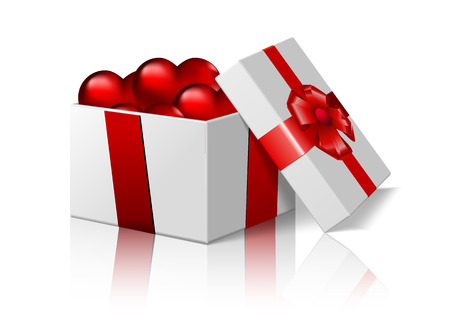 weihnachtsbaum: Box with hearts, vector art illustration of Valentines Day.