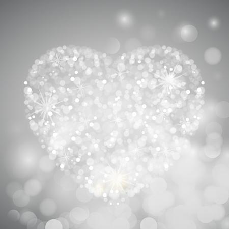 crystal heart: Crystal heart with bokeh, vector art illustration.