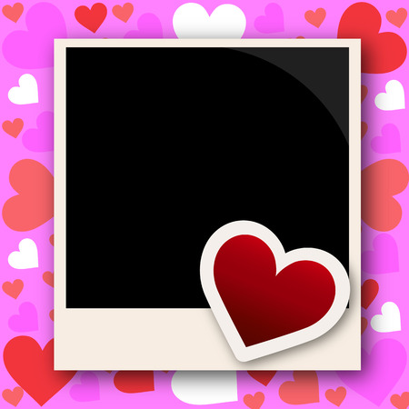 instant film transfer: Photo frame with love, vector art illustration.