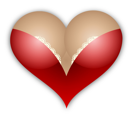 Female in the shape of a heart, vector art illustration.