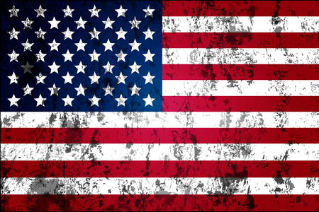 tearing down: Dirty worn American flag, vector art illustration.