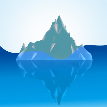 tip of iceberg: The tip of the iceberg above the water and most of the water, vector art illustration.