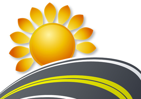 multiple lane highway: the sun and the road, vector art illustration.