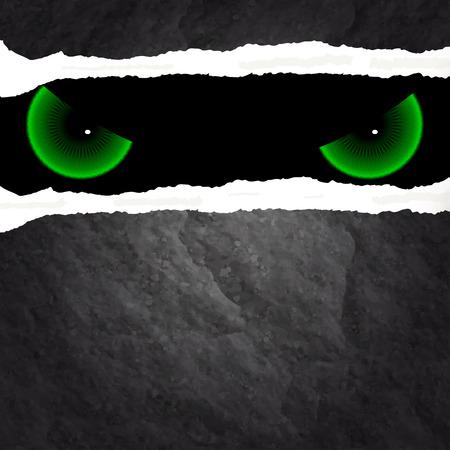 evil eyes: Evil eyes look through the wall, vector art illustration.