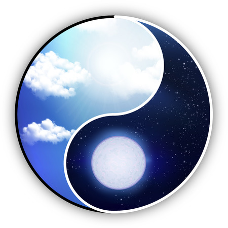 blue sea: Yin and Yang are like night and day, vector art illustration.
