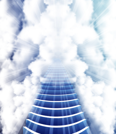 heaven: Stairway to Heaven, vector art illustration of Paradise.