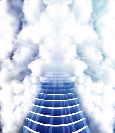 Stairway to Heaven, vector art illustration of Paradise.