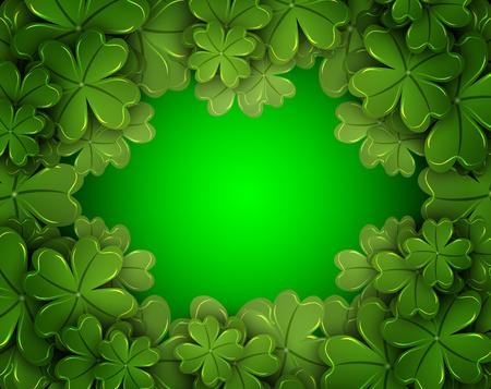 fourleaf: Background of the four-leaf clover, vector art illustration. Illustration