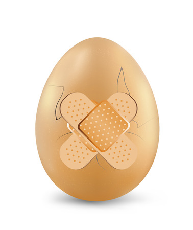 ready cooked: Plasters on the cracked egg, vector art illustration.