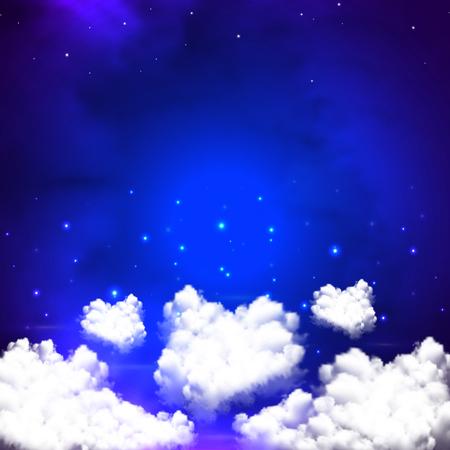 幻想的な夜の空では、ベクトル イラスト アート スペース。