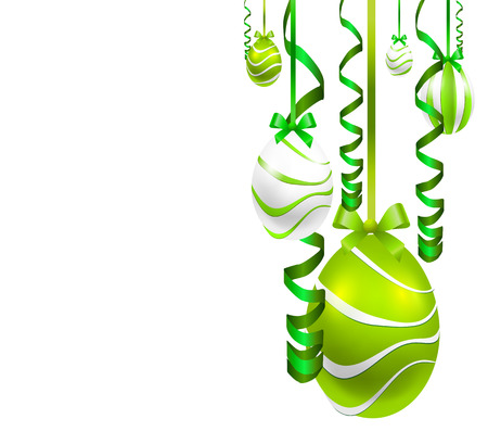 grass close up: Hang Easter eggs with festive ribbons, vector art illustration. Illustration