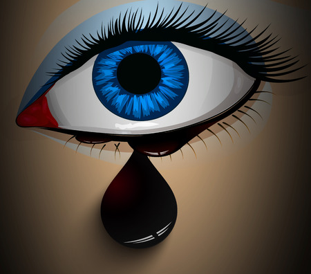 Mascara flowed from his eyes, vector art illustration.