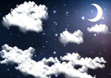 half moon: Half moon illuminates the night sky, vector art illustration.