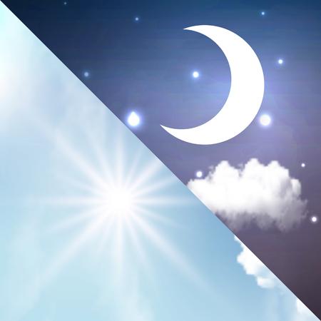 Giorno e notte, illustrazione di arte vettoriale del cambiamento del giorno.