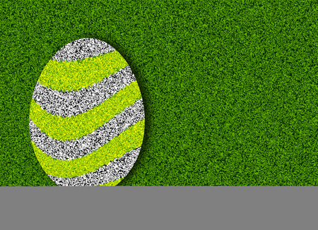 front or back yard: Easter egg on green grass, vector art illustration.