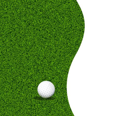 level playing field: Golf ball on green grass, vector art illustration.