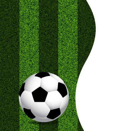 front or back yard: Soccer ball on green grass, art illustration. Illustration