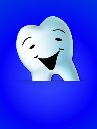 Background with smiling tooth, art illustration. Illustration