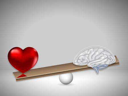 brain illustration: Love and the brain in the balance, art illustration.