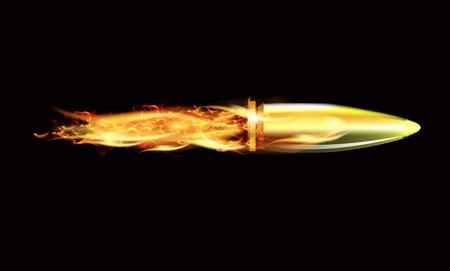 The fire in the wake of the bullet, art illustration. Stock Illustratie