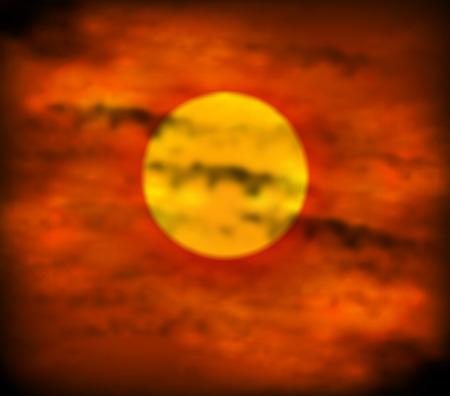 red sky: Sunset on the red sky, art illustration. Illustration