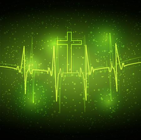 taking pulse: ECG heart and cross, art illustration. Illustration