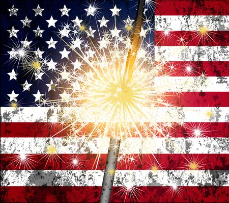 bengal light: Bengal light and USA flag, art illustration.