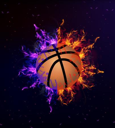 basketball ball in fire: Basketball ball on fire, art illustration.