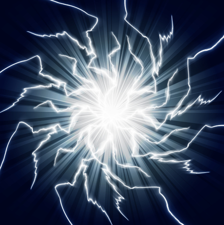 zapping: Background with ball lightning, art illustration.