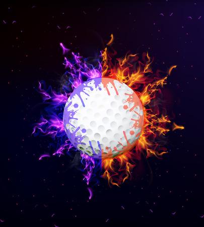 zero gravity: Golf ball on fire, art illustration.