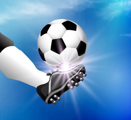 kicks: Leg soccer player kicks the ball, vector art illustration.